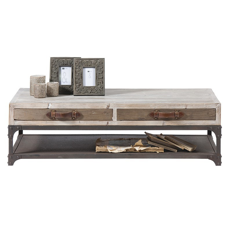 Table basse rectangulaire flamand salon style loft for Table basse style loft