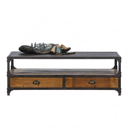 table basse rectangulaire Montana pin massif - ambiance loft industriel