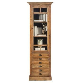 Bibliothèque vitrée Montana en Pin massif ciré| décoration chaleureuse pour votre intérieur