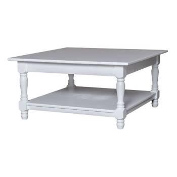 Table basse carrée romantique Pin / Chêne Riviera