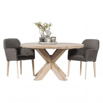 Table de salle ronde. Collection de meubles en chêne massif Séville