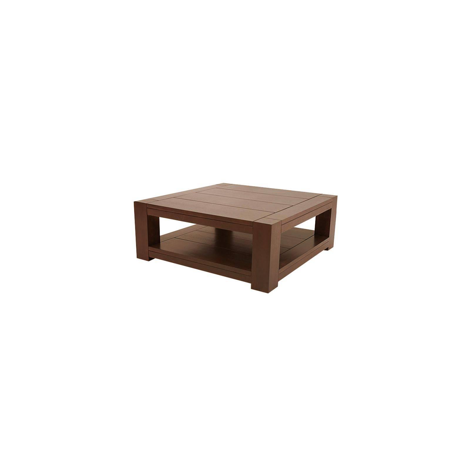 Table basse carrée en hévéa. Mobilier design Moka