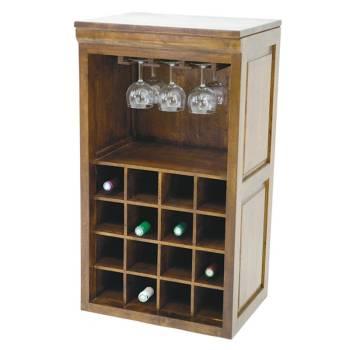 Range-bouteilles et verres Tradition. Meuble en hévéa