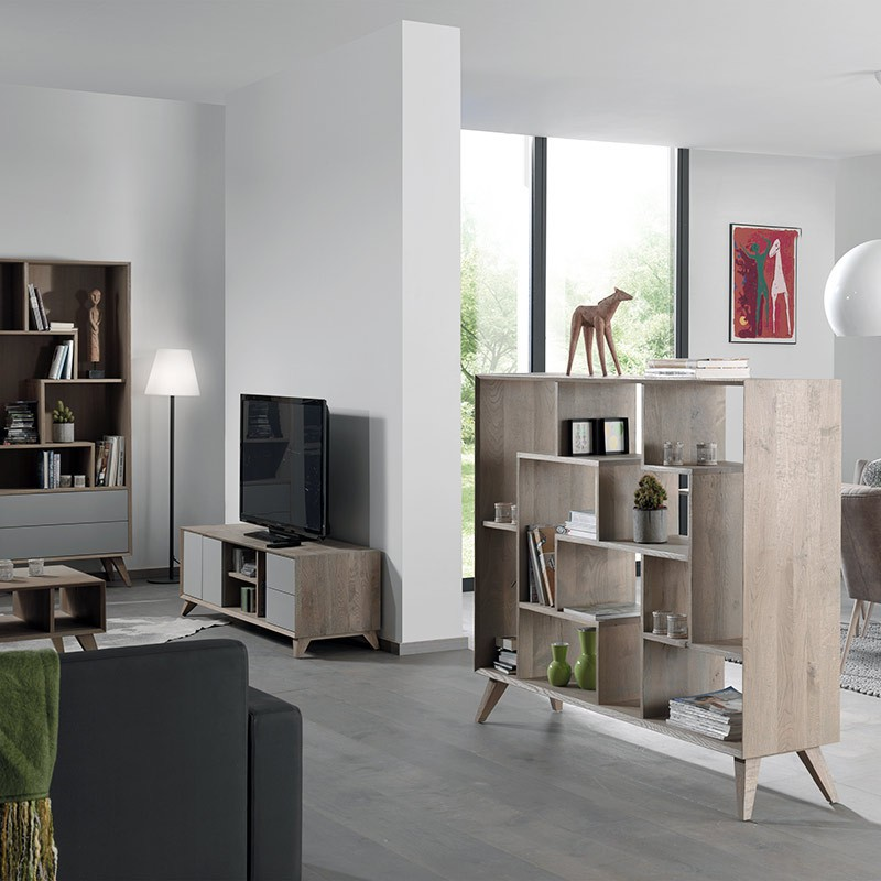 meuble scandinave biblioth que en ch ne massif. Black Bedroom Furniture Sets. Home Design Ideas