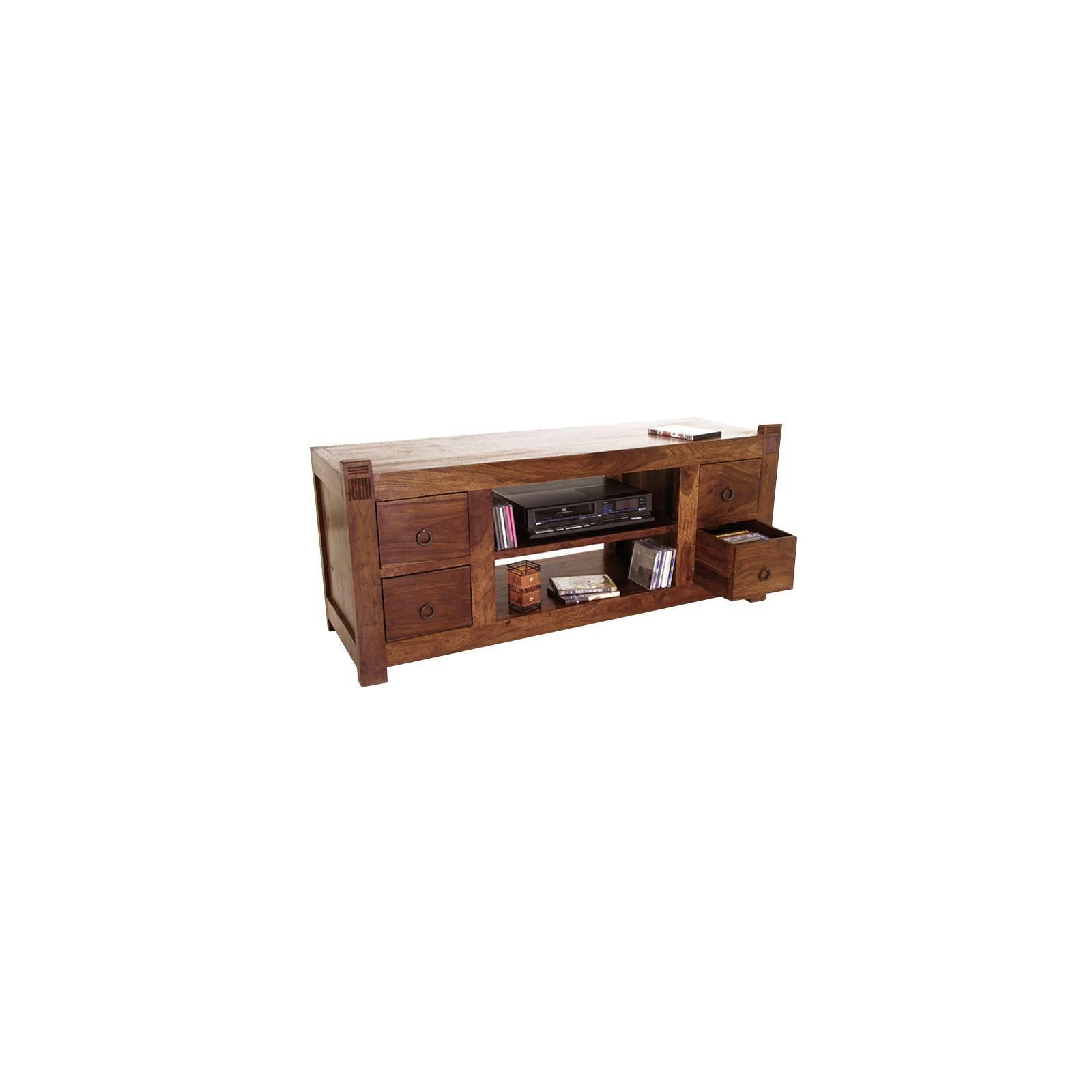 Mobilier de salon à l'esprit primitif avec un meuble Tv en bois massif
