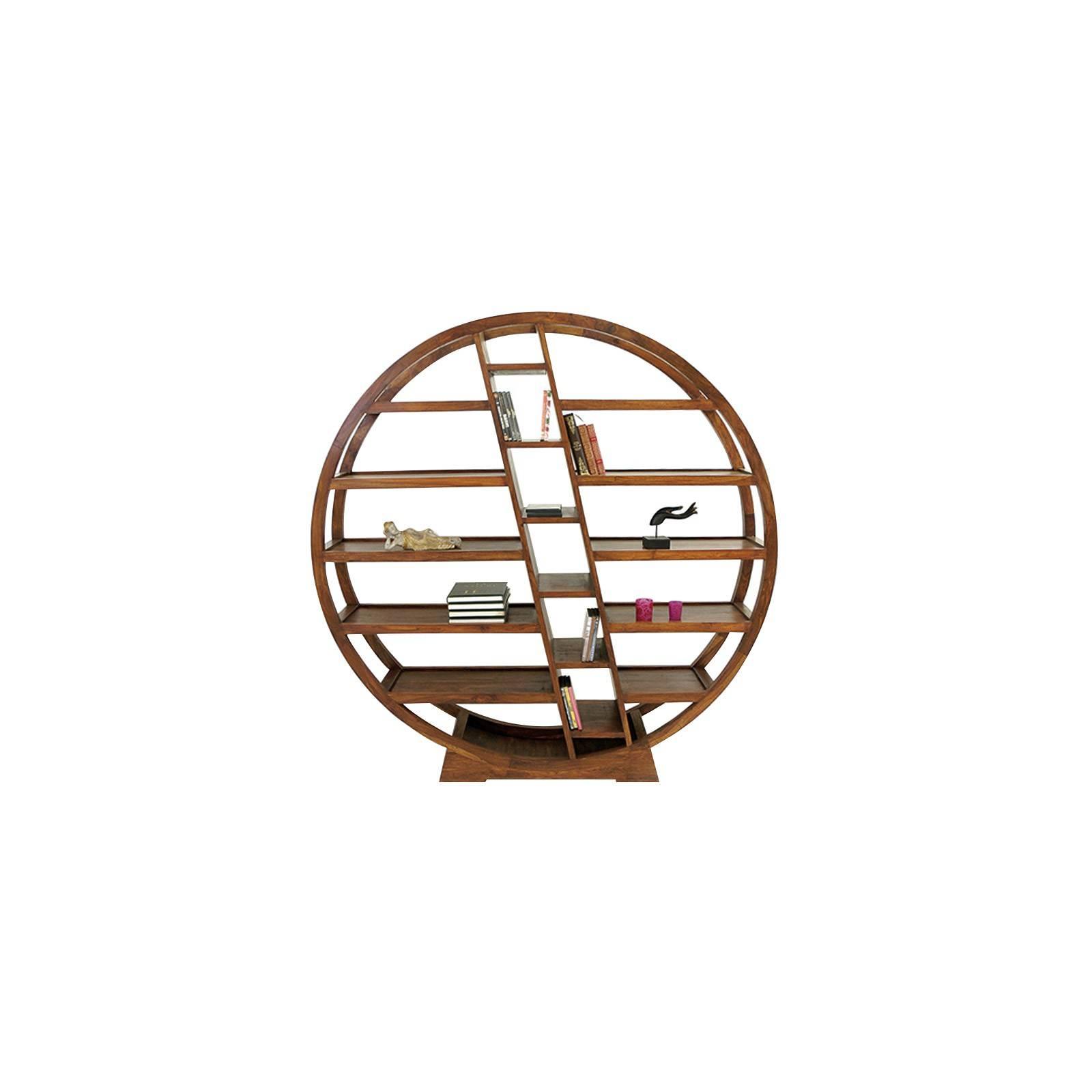 Étagère ronde, fabrication artisanale. Collection Lhassa en palissandre massif