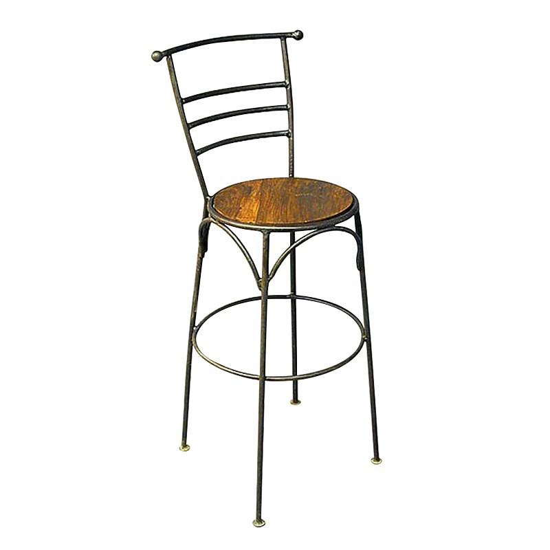 Tabouret de bar en bois exotique et fer forg esprit bistrot for Table bar fer forge