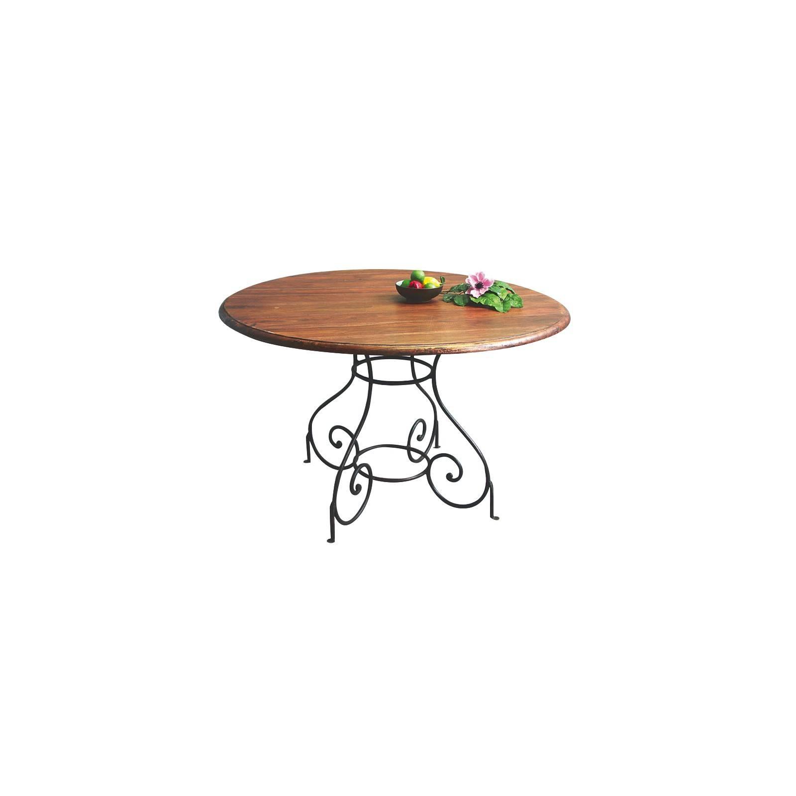 Table de salle en fer forgé et palissandre. mobilier romantique