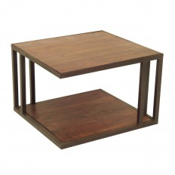 Table basse industrielle Loft fer forgé et palissandre