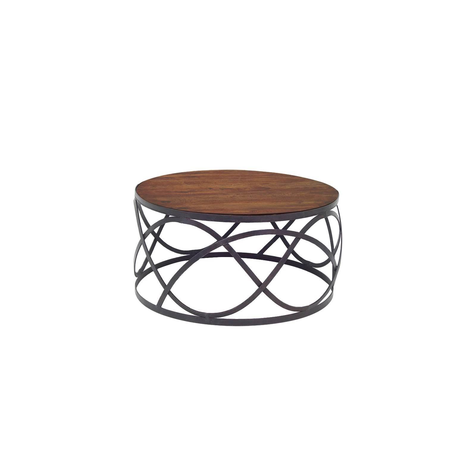 Table basse ronde en fer forgé et palissandre. Maison à l'esprit loft