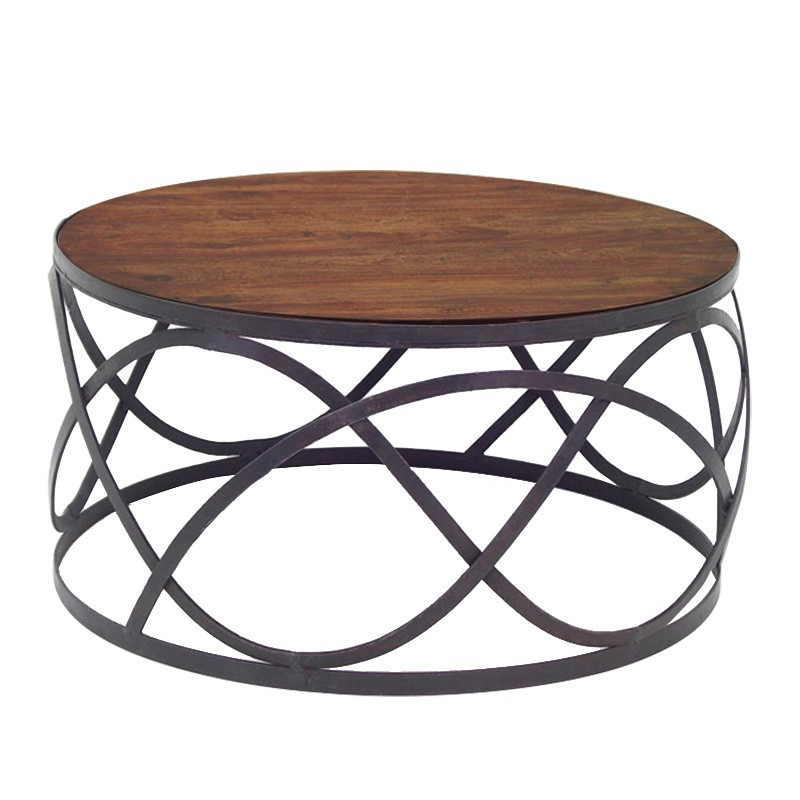 Table basse ronde bois fer forge - Petite table basse ronde ...