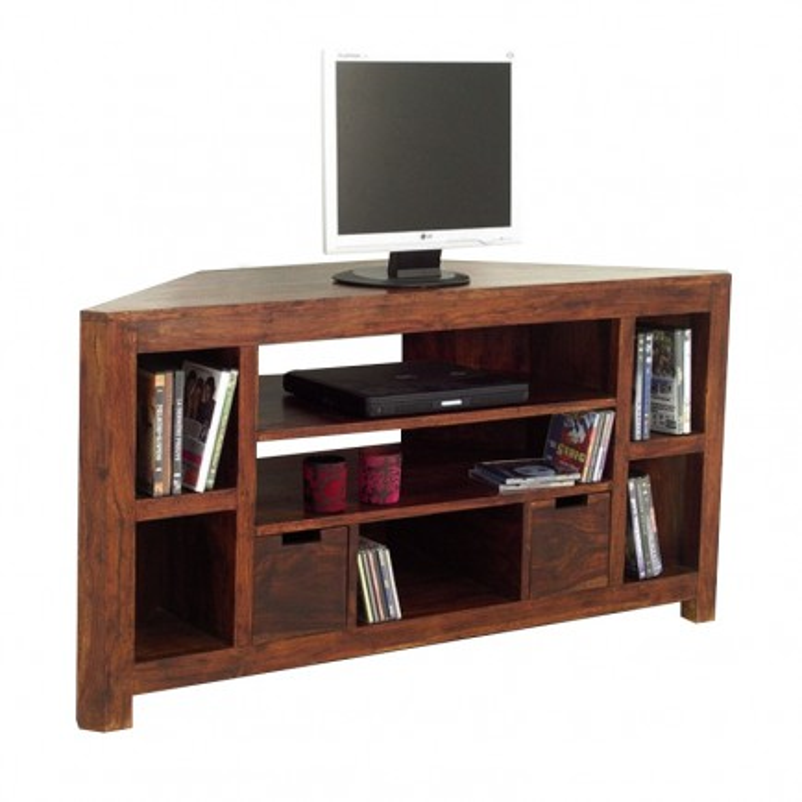 Meuble Tv d'Angle Tiroirs Palissandre Zen - meubles bois exotique