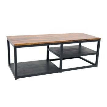 Meuble Tv Loft Fer Forgé et Palissandre - meuble style industriel