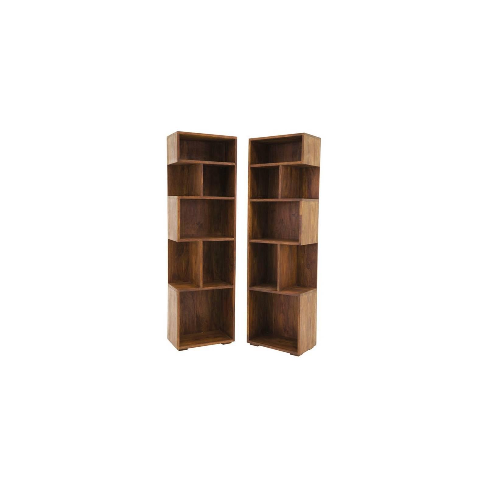 Bibliothèque en bois exotique Lhassa : inspiration ethnique pour le salon