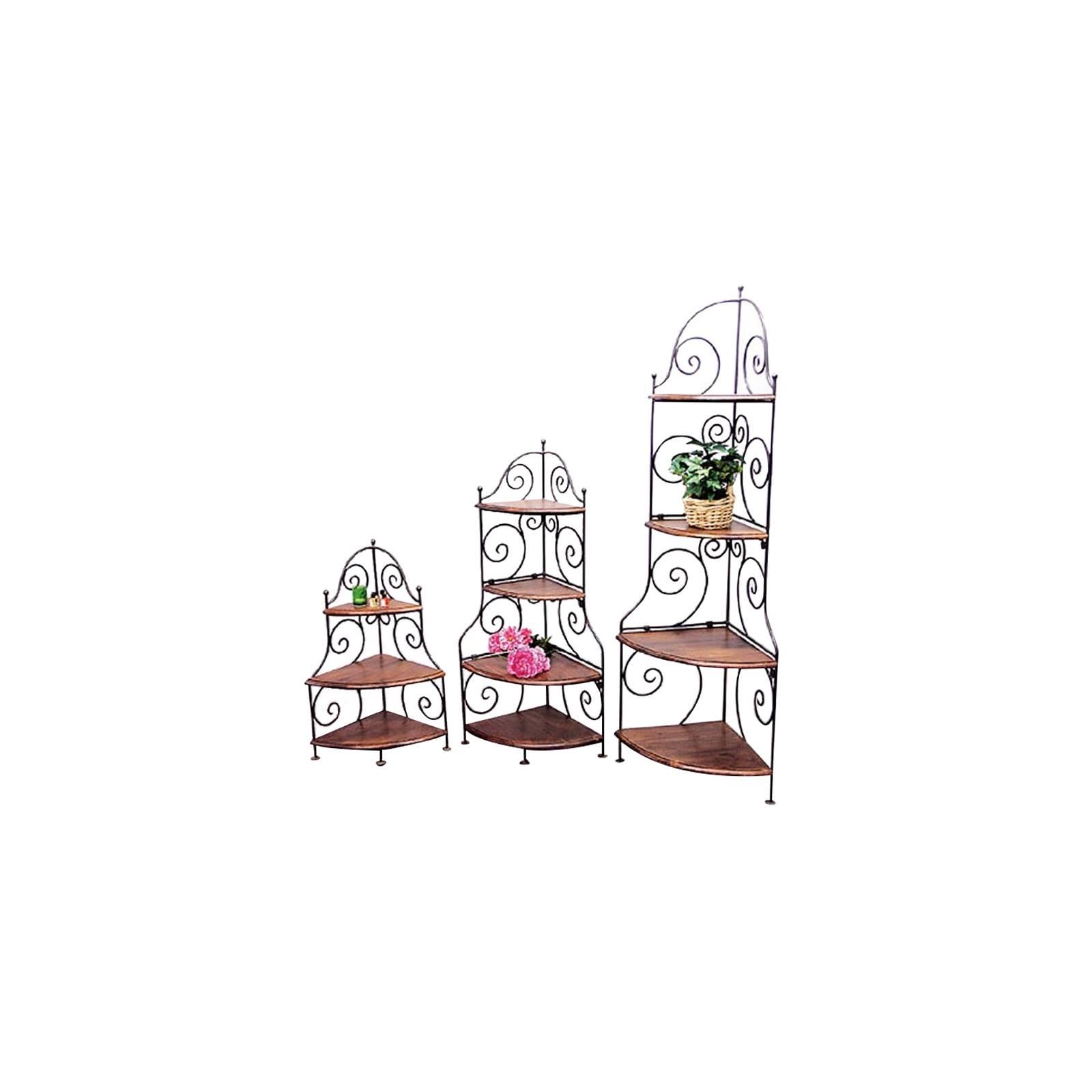 Etagère S/3 Fer forgé et Palissandre - meuble style romantique