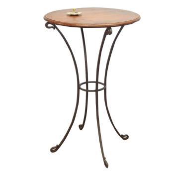 Table Bar Palissandre et Fer forgé