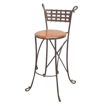 Tabouret de Bar Bas en Haut Fer forgé et Palissandre - meuble style romantique
