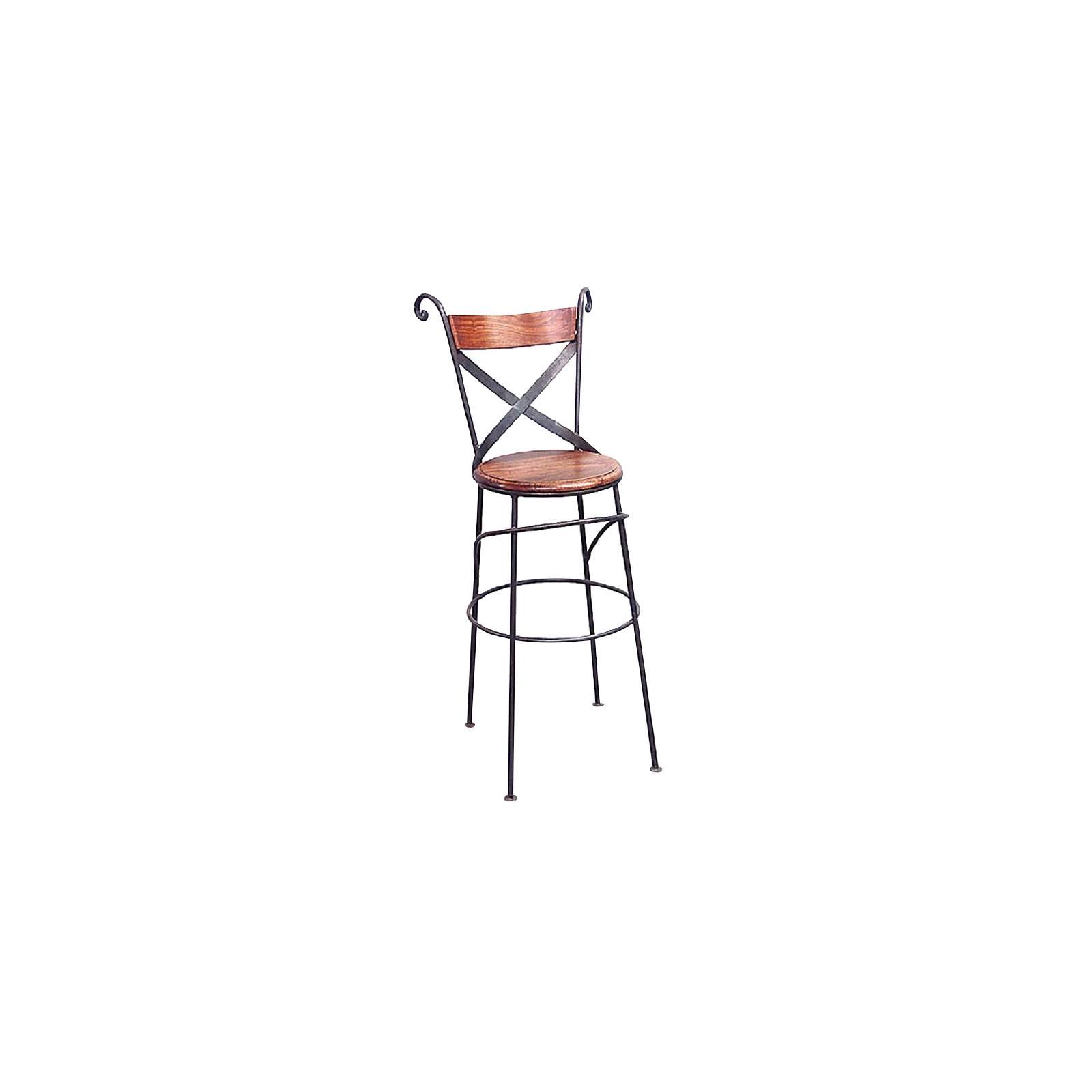 Tabouret de Bar Croisé Fer forgé et Palissandre - meuble style romantique