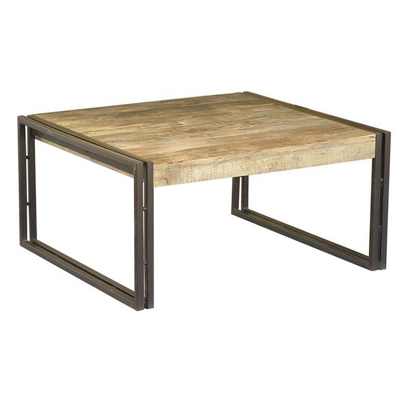 Table basse rectangulaire bois exotique et fer forg for Table salon bois et fer