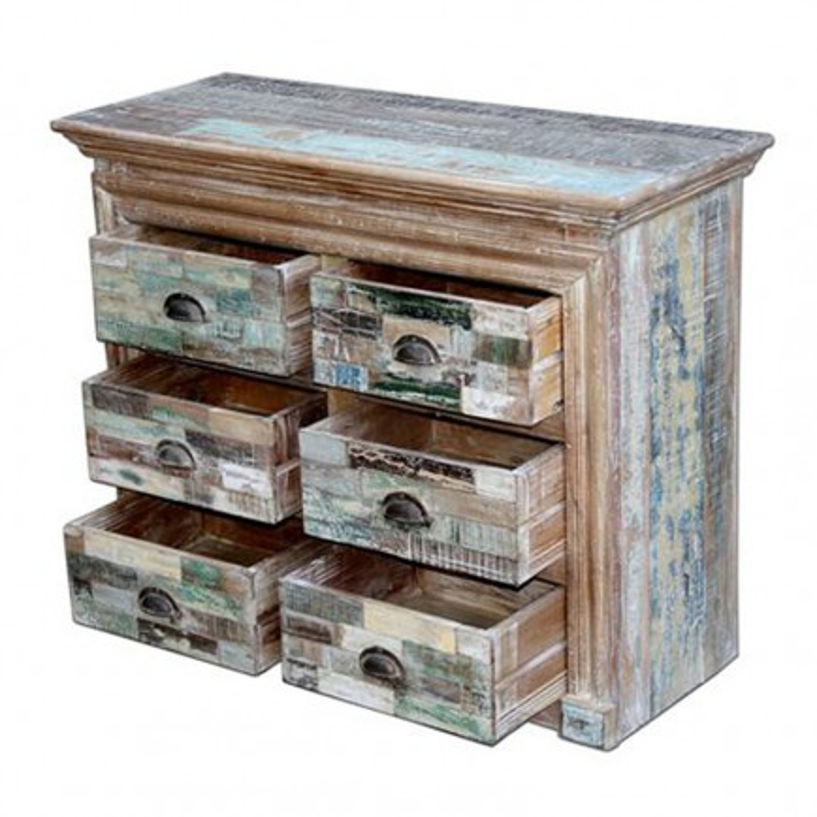 Commode colorée Cuba. Décoration en bois recyclé