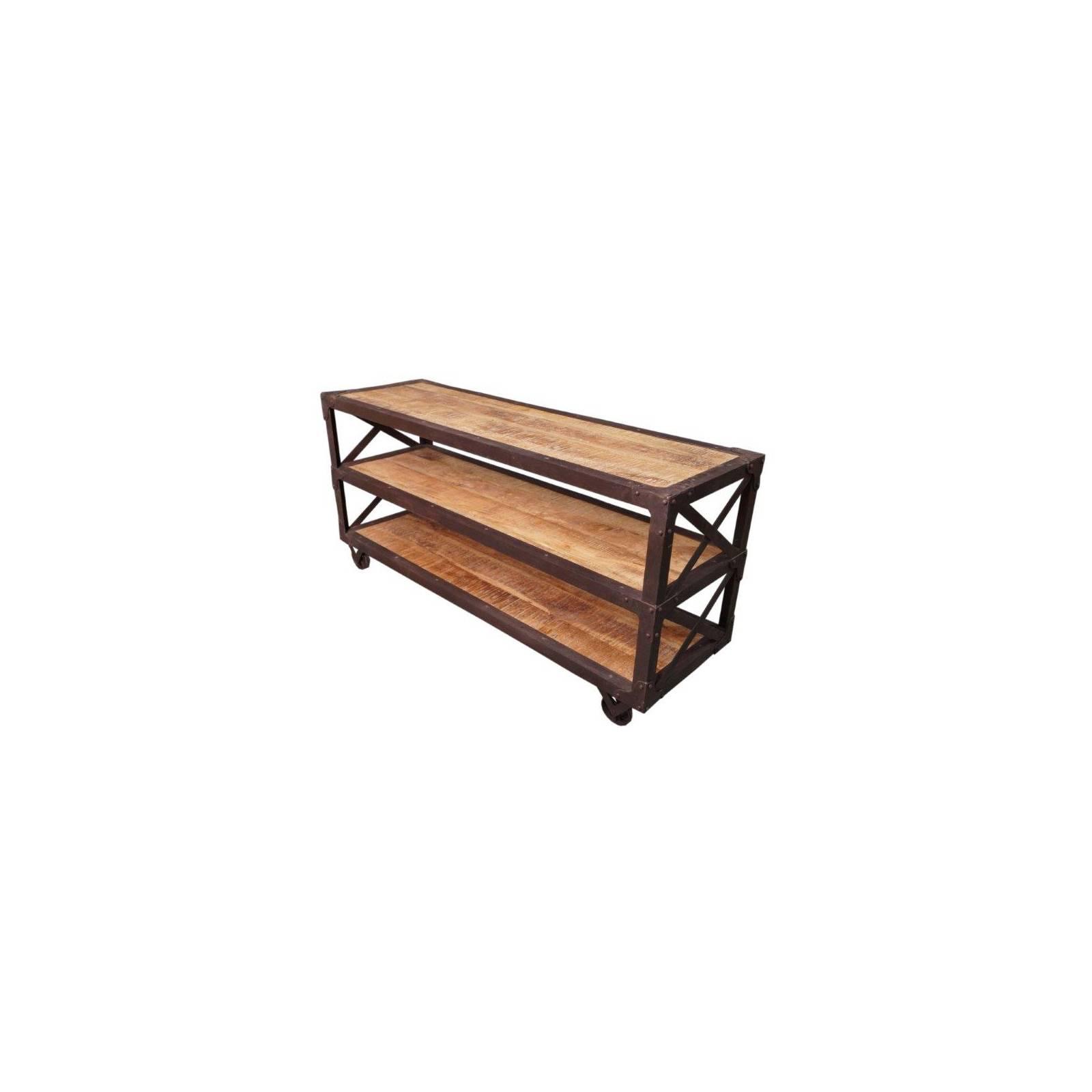 Console à roulettes en bois exotique et fer forgé Fabric