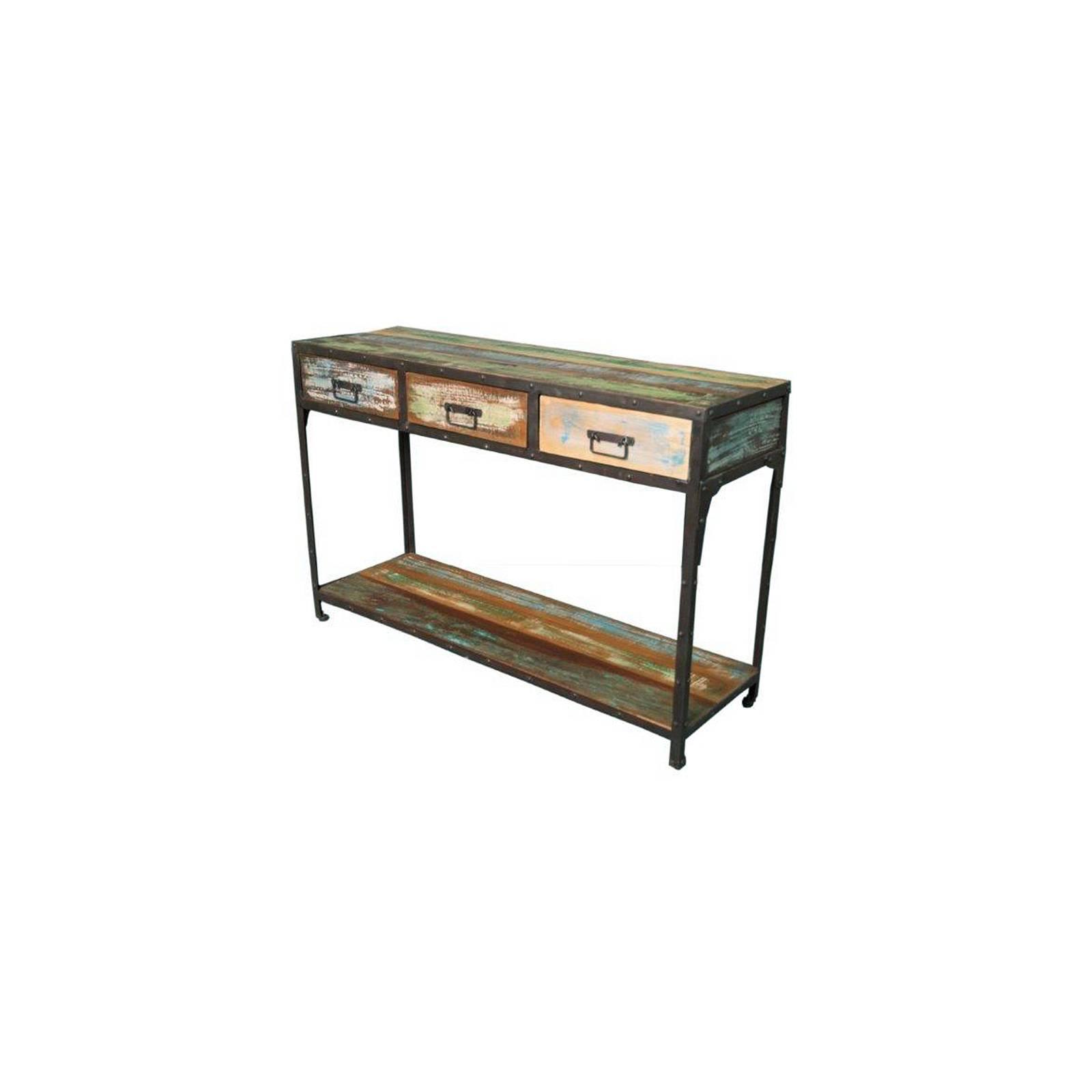 console en fer forg et palissandre entr e industriel loft. Black Bedroom Furniture Sets. Home Design Ideas