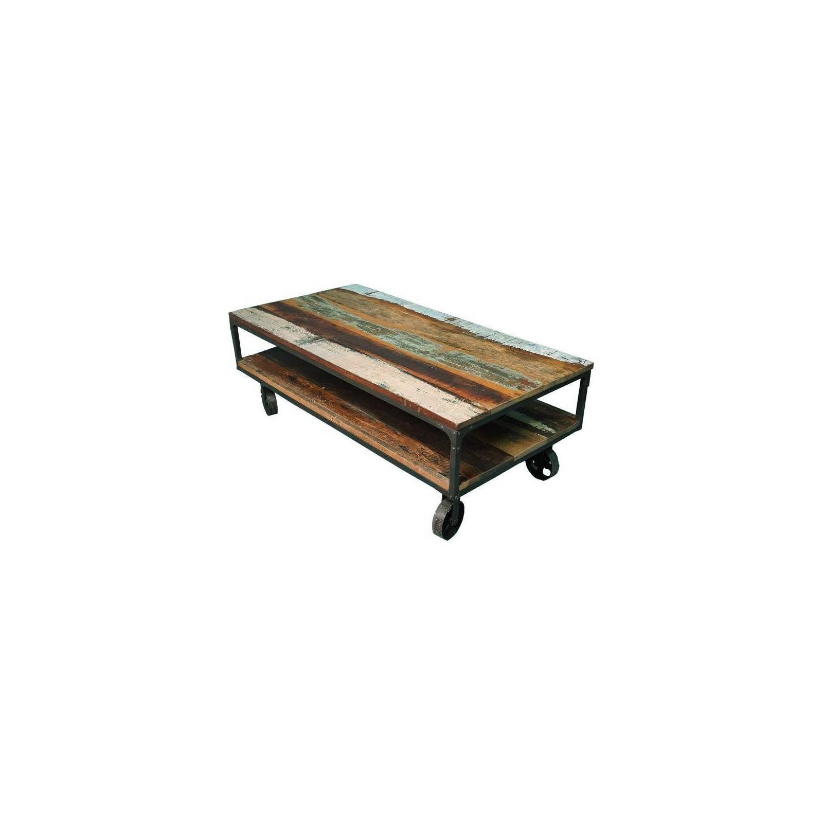 Table basse à roulettes en bois recyclé Butterfly