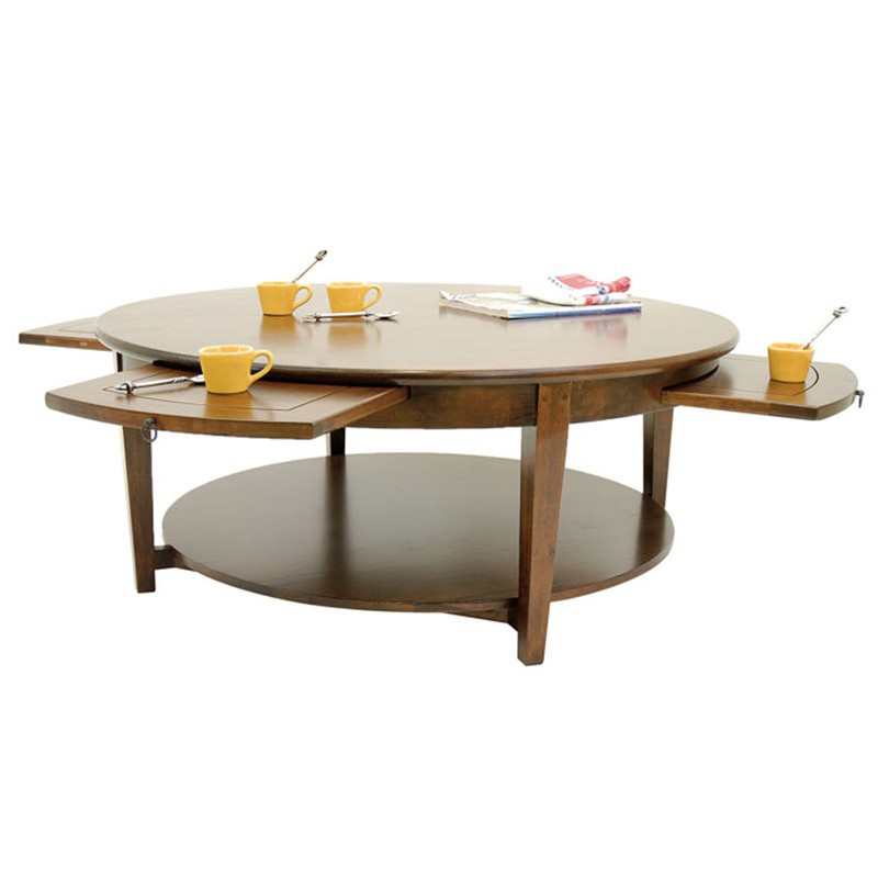 Mobilier de salon table basse ronde tiroirs tradition for Table basse salon ronde ou ovale