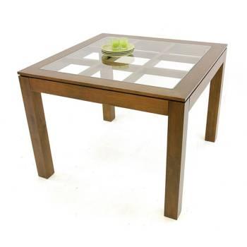 Table de salle vitrée en bois massif de la collection Omega