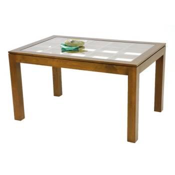 Table de salle vitrée rectangulaire Omega Hévéa