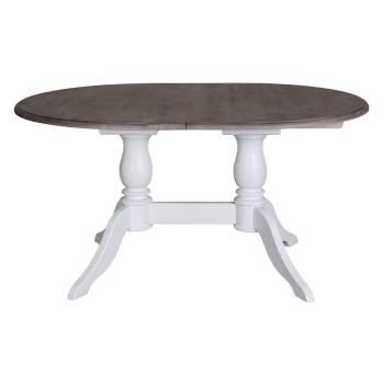 Table de repas double pied ovale Pin / Chêne Riviera
