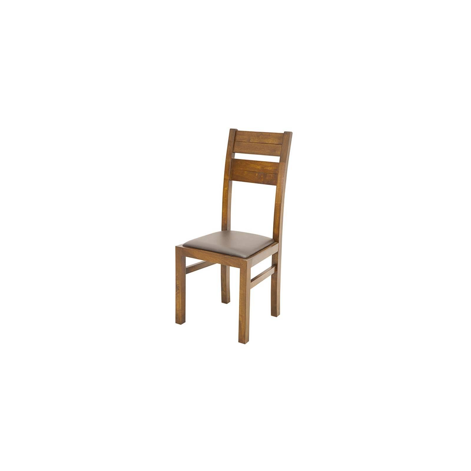 Chaise en bois exotique et cuir bycast Broadway