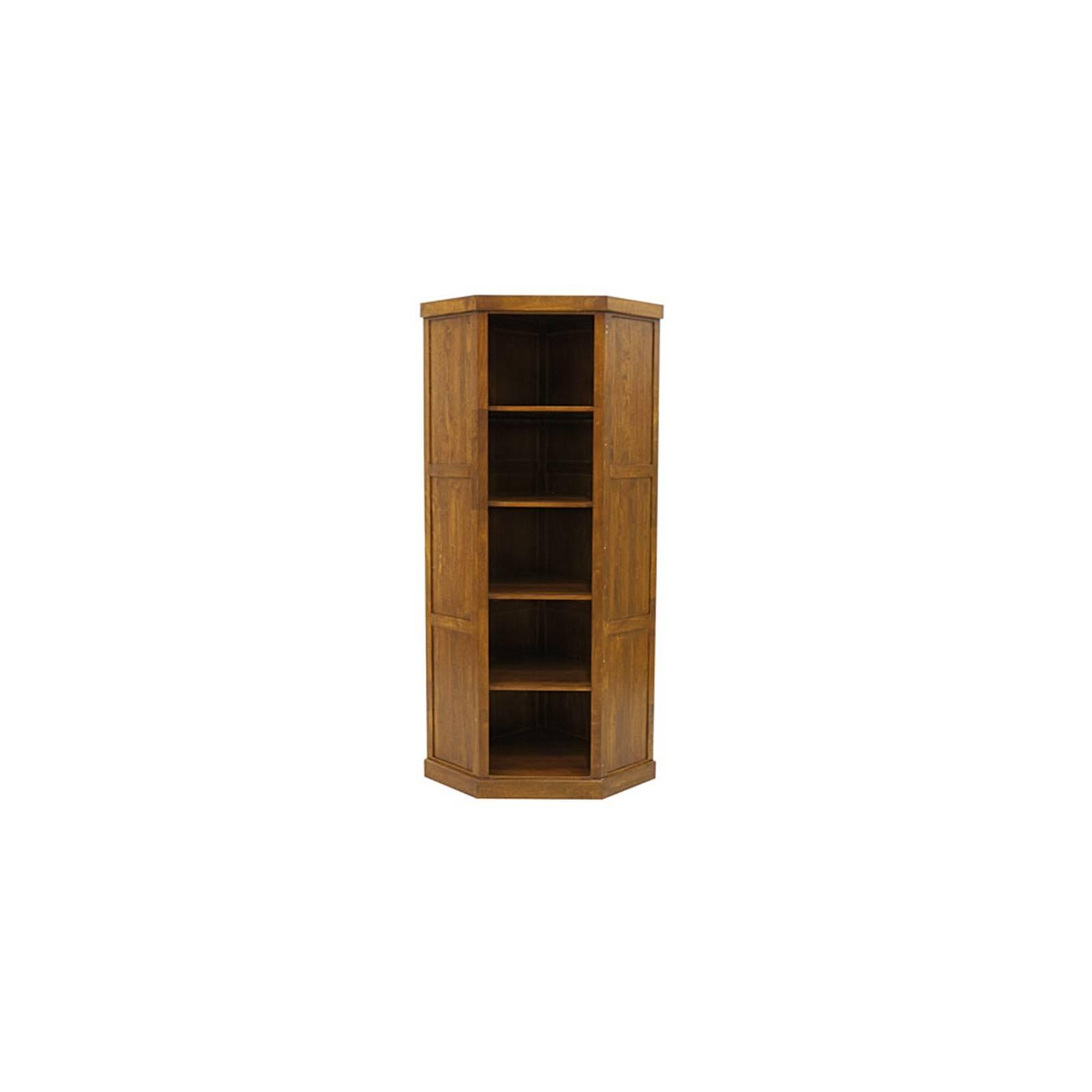 Bibliothèque d'angle en bois exotique Belle Époque