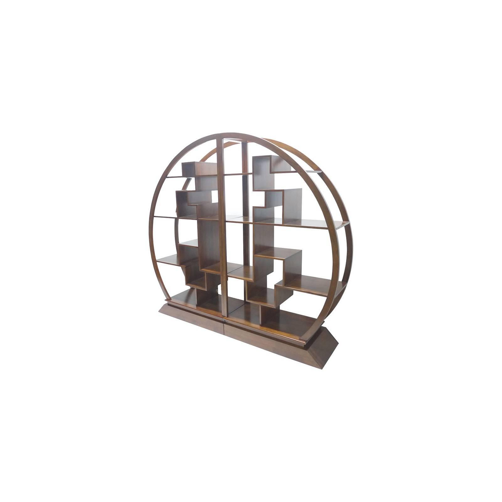Étagère ronde en bois exotique. Meuble original Omega