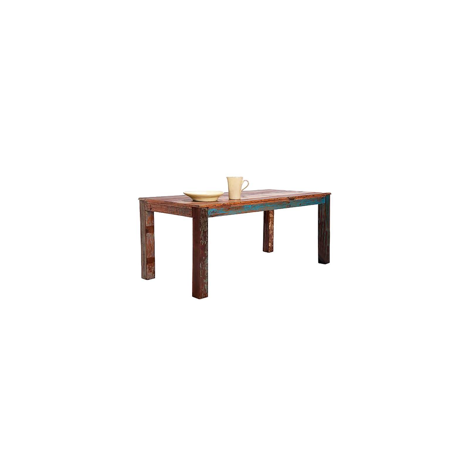 Table à Manger Teck Origine. Meuble Multicolore en bois recyclé.