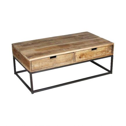 Table Basse Industrielle Fer et Bois Fabric