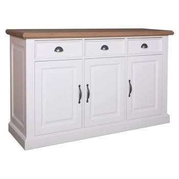 Buffet bas 3 portes 3 tiroirs Pin/Chêne Maestria