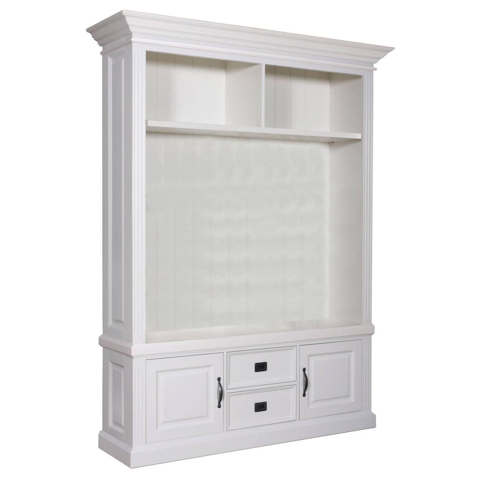 Meuble TV 2 portes 2 tiroirs avec des panneaux de bossage design romantique