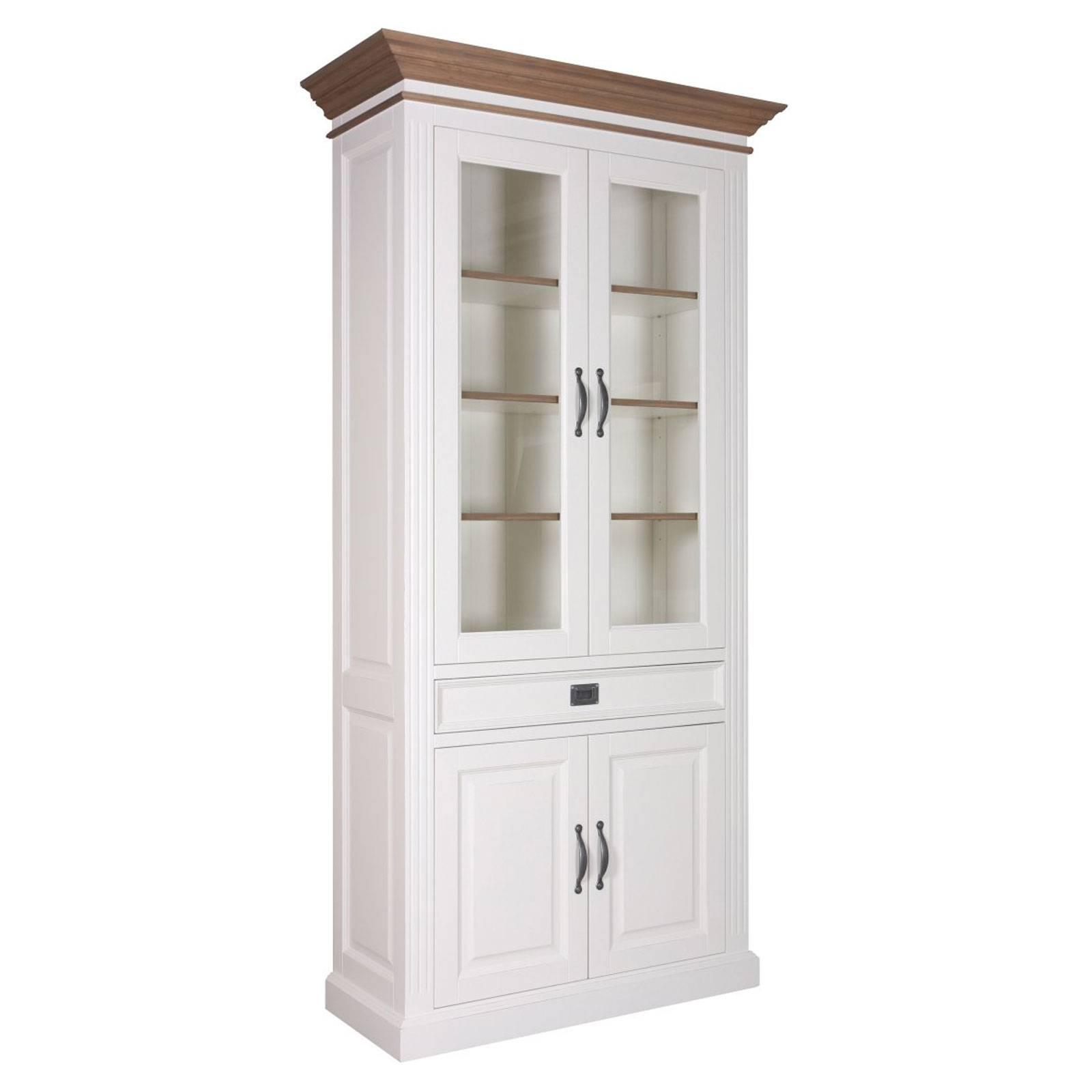 """Vitrine 2x2 portes 1 tiroir """"Chêne et Pin Romance"""" - achat vitrine"""