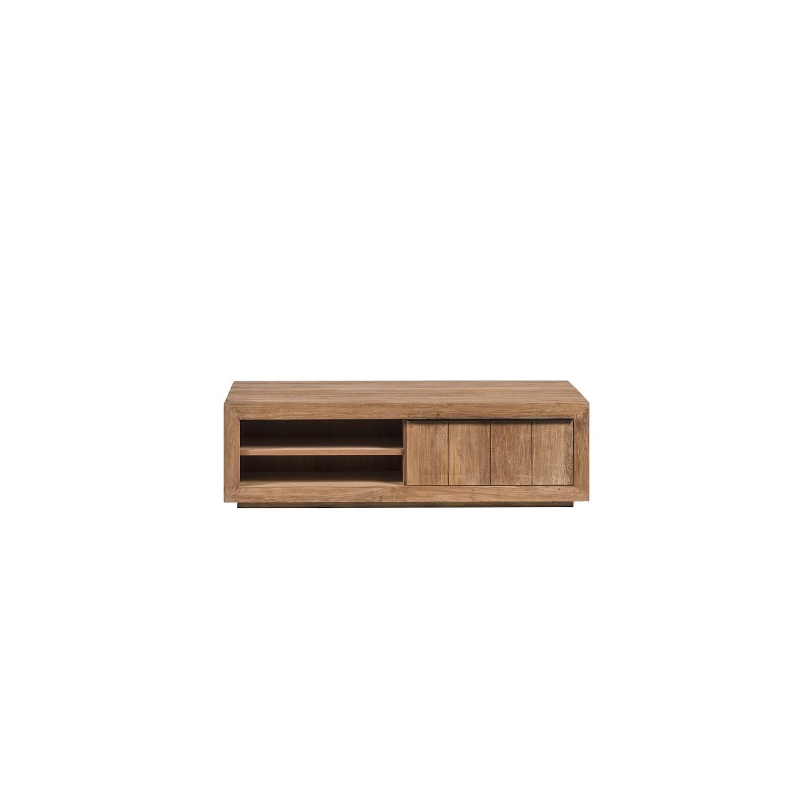 Table basse à tiroir Teck recyclé et brossé - achat table basse haut de gamme