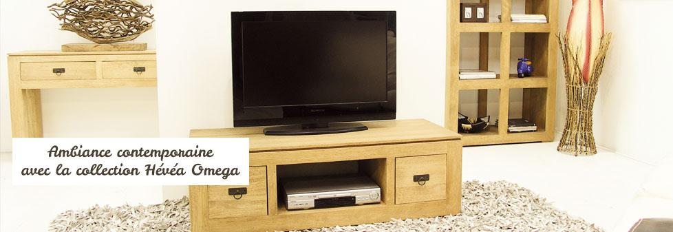 Meuble bois exotique - meuble hévéa massif