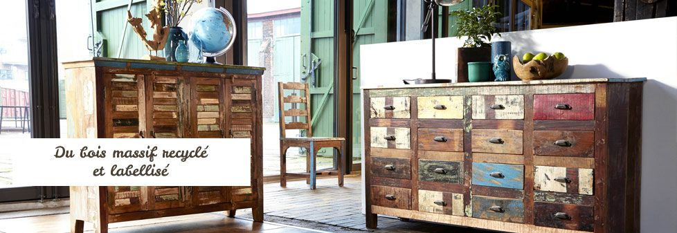 meuble en bois recycle hoze home. Black Bedroom Furniture Sets. Home Design Ideas