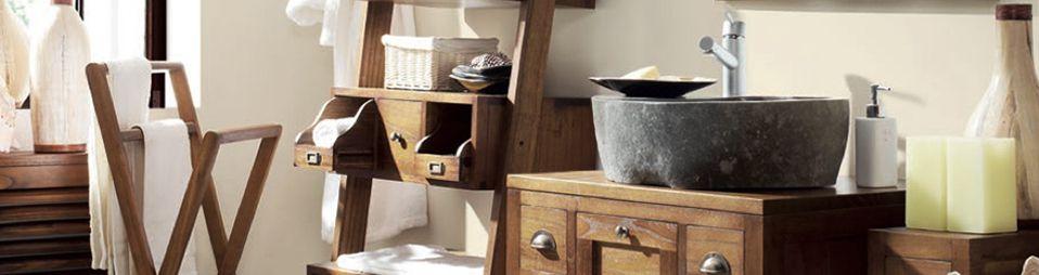 Étagère de salle de bain en teck massif - meubles sdb