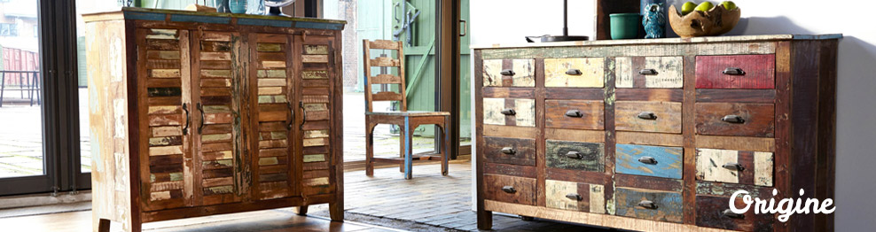 collection teck origine meubles en bois massif recycl. Black Bedroom Furniture Sets. Home Design Ideas